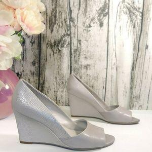 Franco Sarto Jamila gray leather textured heels